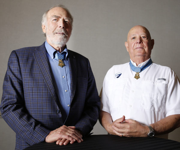 Medal of Honor Recipients Retired Army Maj. Drew Dix, left, and Ret. Army Sgt. Maj. Gary Littrell