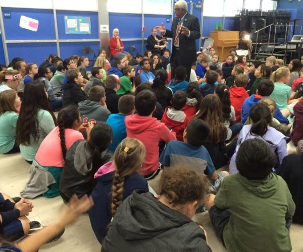 Medal of Honor Recipient Melvin Morris captures students' attention during a Character Development lesson.