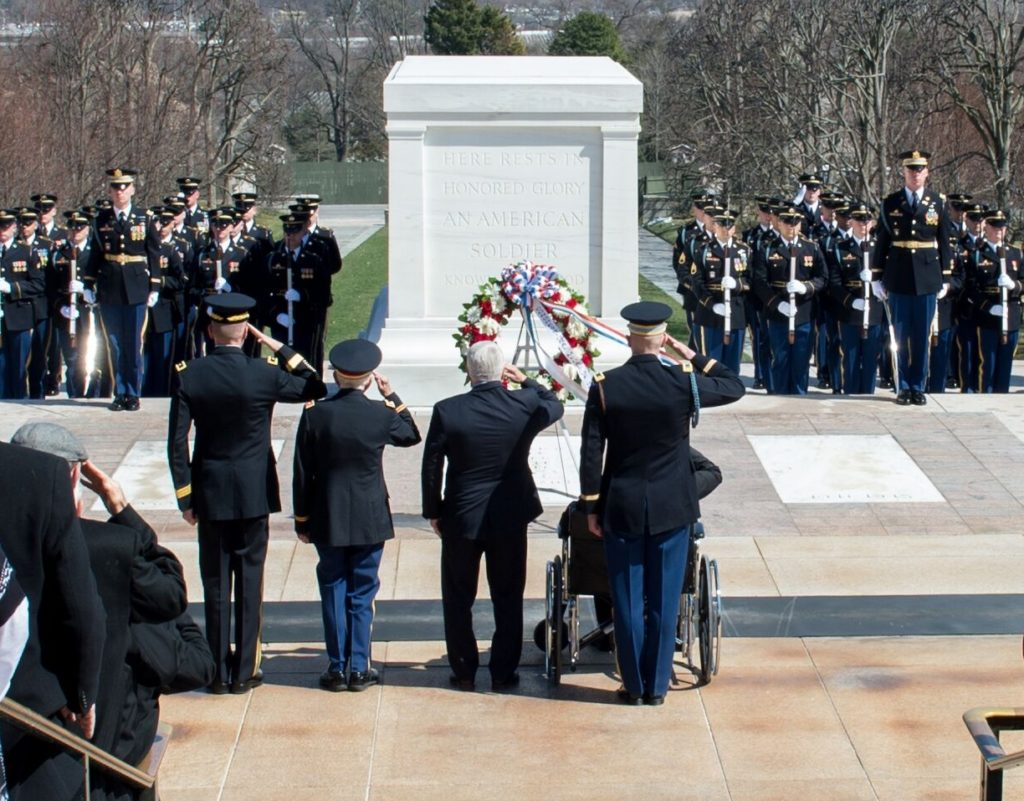 Medal of Honor Recipients salute the Tomb of the Unknown on National Medal of Honor Day, Arlington National Cemetery, Arlington, VA.